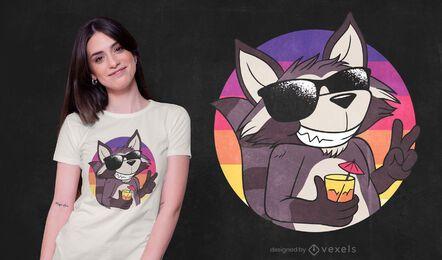 Diseño fresco de camiseta de mapache