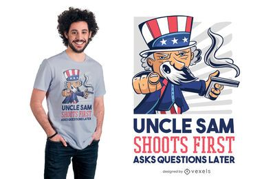 Uncle Sam Shoots First T-shirt Design