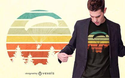 Design de camisetas do pôr do sol de parapente