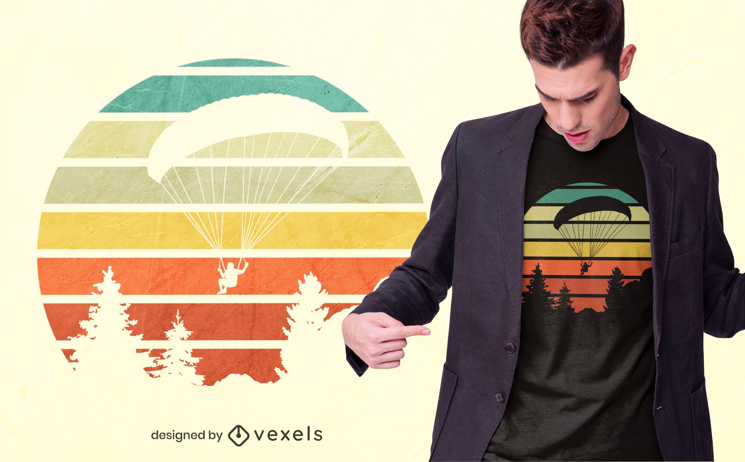 Paragliding sunset t-shirt design