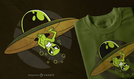Diseño de camiseta alienígena atascado