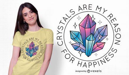 Desenho de t-shirt com citação de cristais
