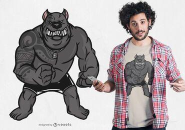 Diseño de camiseta muscular pitbull