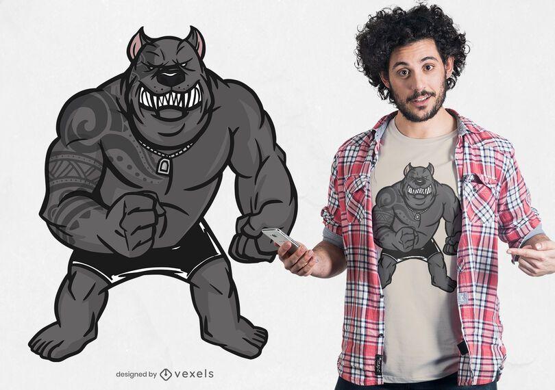 Design de camiseta pitbull muscular