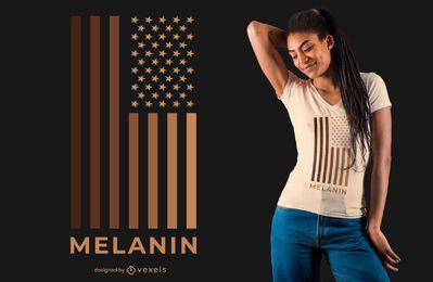Diseño de camiseta Melanin USA Flag