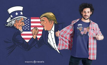 Design de camisetas do Tio Sam e Trump