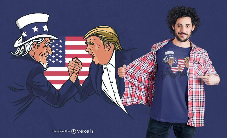Diseño de camiseta del tío Sam y Trump