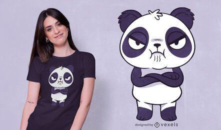 Diseño de camiseta de panda enojado