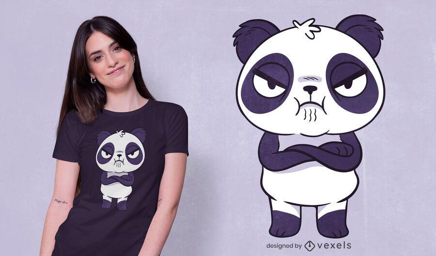 Design de camiseta do panda zangado
