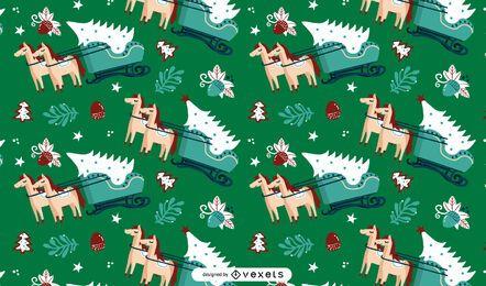 Diseño de patrón de árbol de navidad trineo