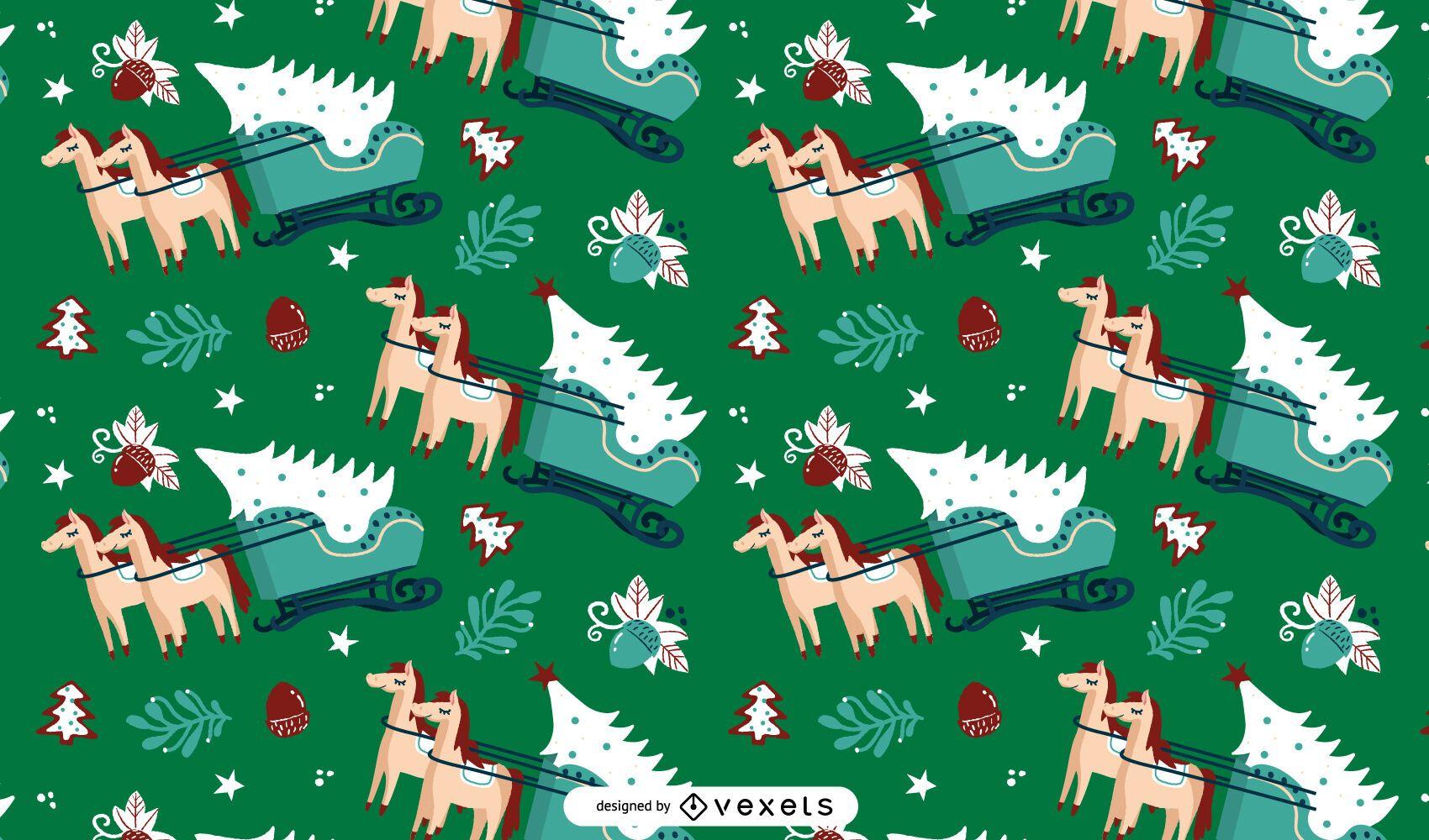 Sleigh christmas tree pattern design