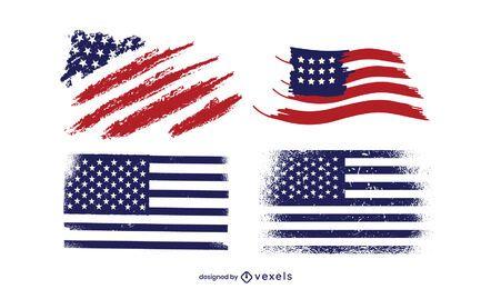 Paquete de diseño de la bandera de Grunge America