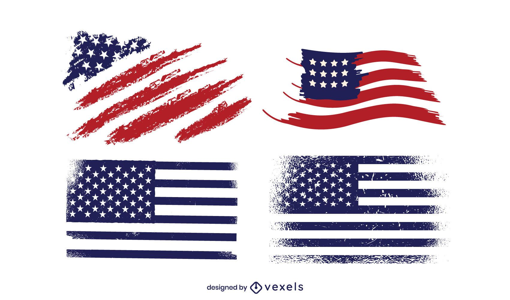 Grunge America Flag Design Pack