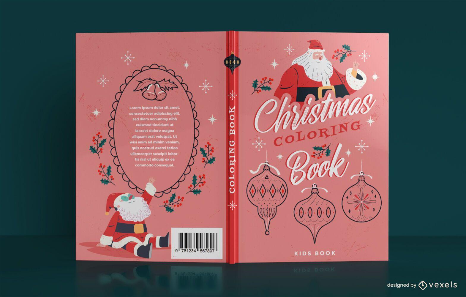 Diseño de portada de libro para colorear de Navidad