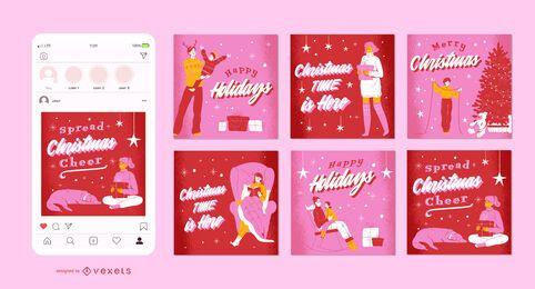 Conjunto de publicaciones navideñas de redes sociales