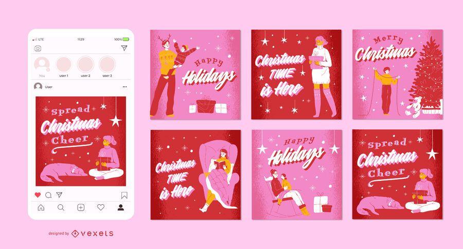 Conjunto de post de mídia social de Natal