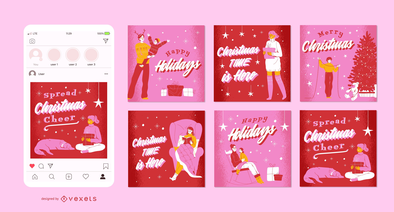 Weihnachts-Social-Media-Post-Set