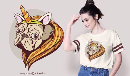 Diseño de camiseta unicornio pug