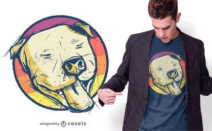 Pitbull Hand gezeichnetes T-Shirt Design