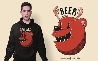 Desenho de camiseta de urso veado