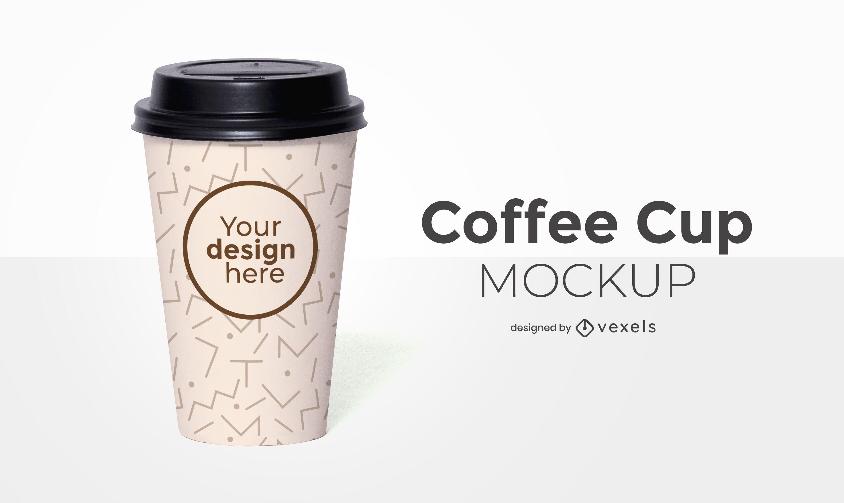 Design de maquete frontal da xícara de café