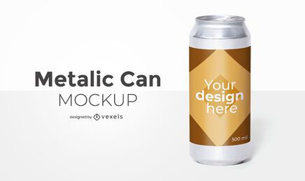 Design de maquete de embalagens de lata
