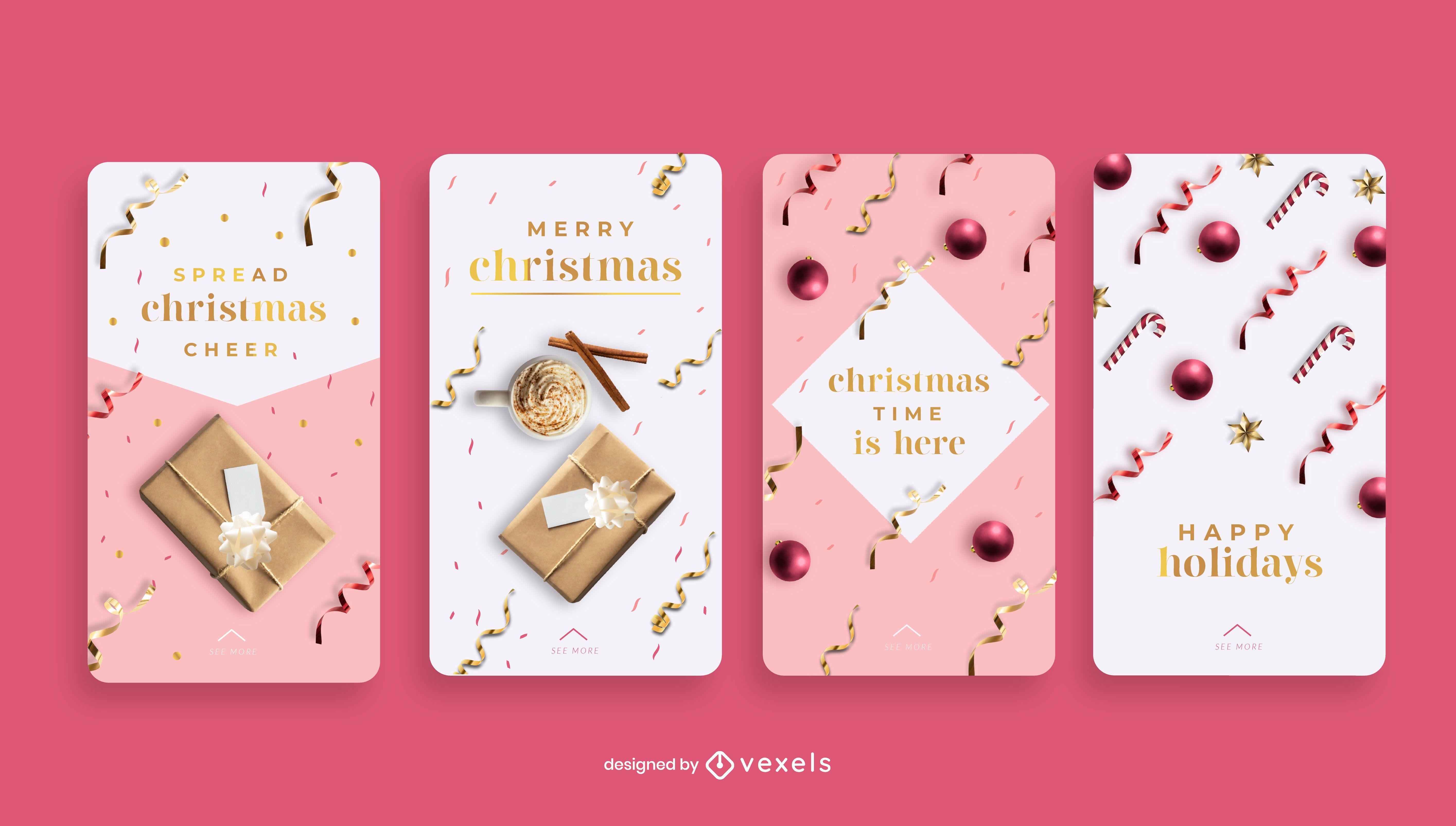 Conjunto de historias de redes sociales navideñas