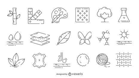 Paquete de iconos de producción de telas
