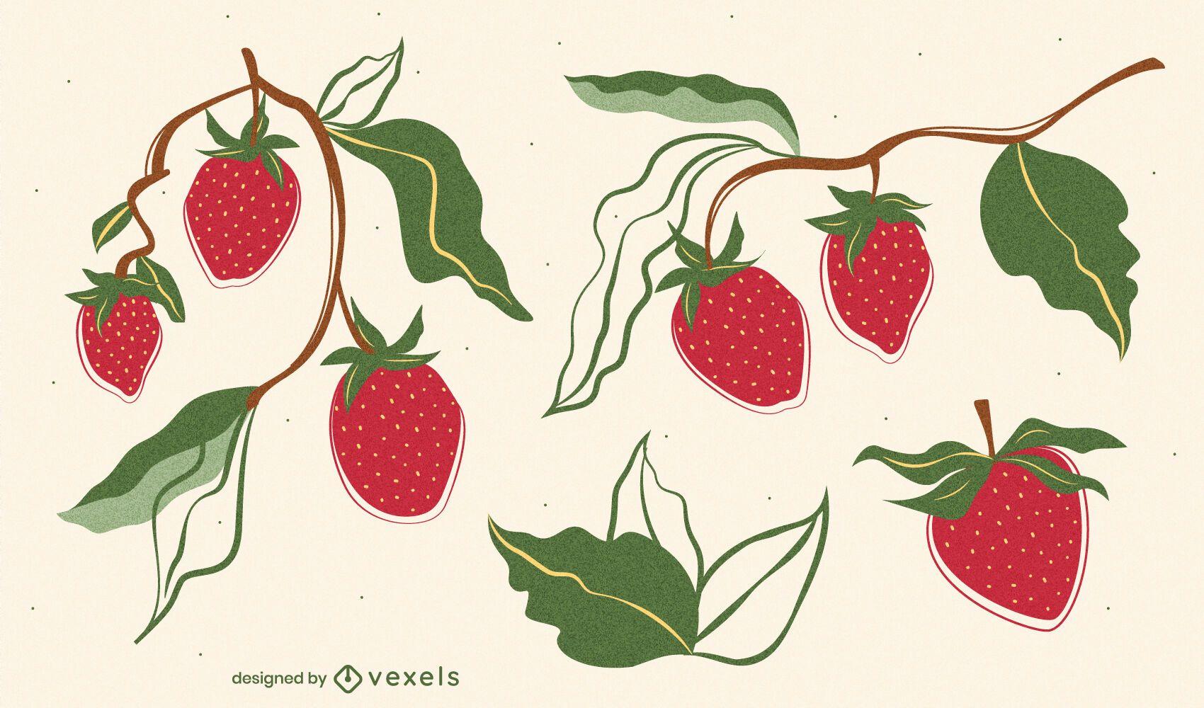 Paquete de estilo plano de dibujo de fresa