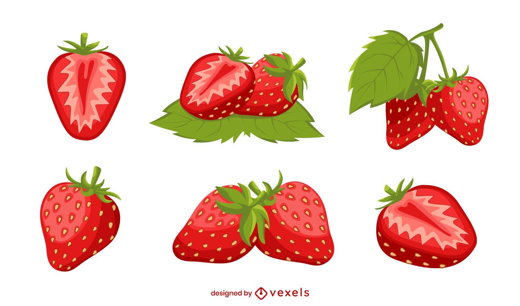 Conjunto de ilustração detalhada de morango