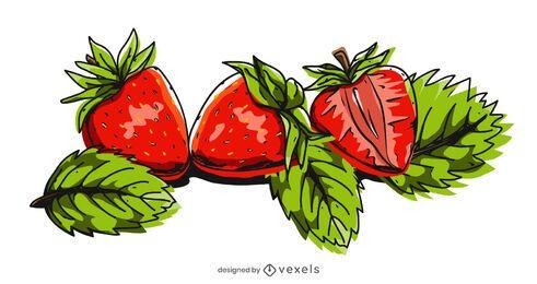 Conjunto de Design de Ilustração de Morango