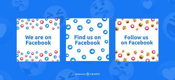 Encuéntrenos en el conjunto de banners de facebook