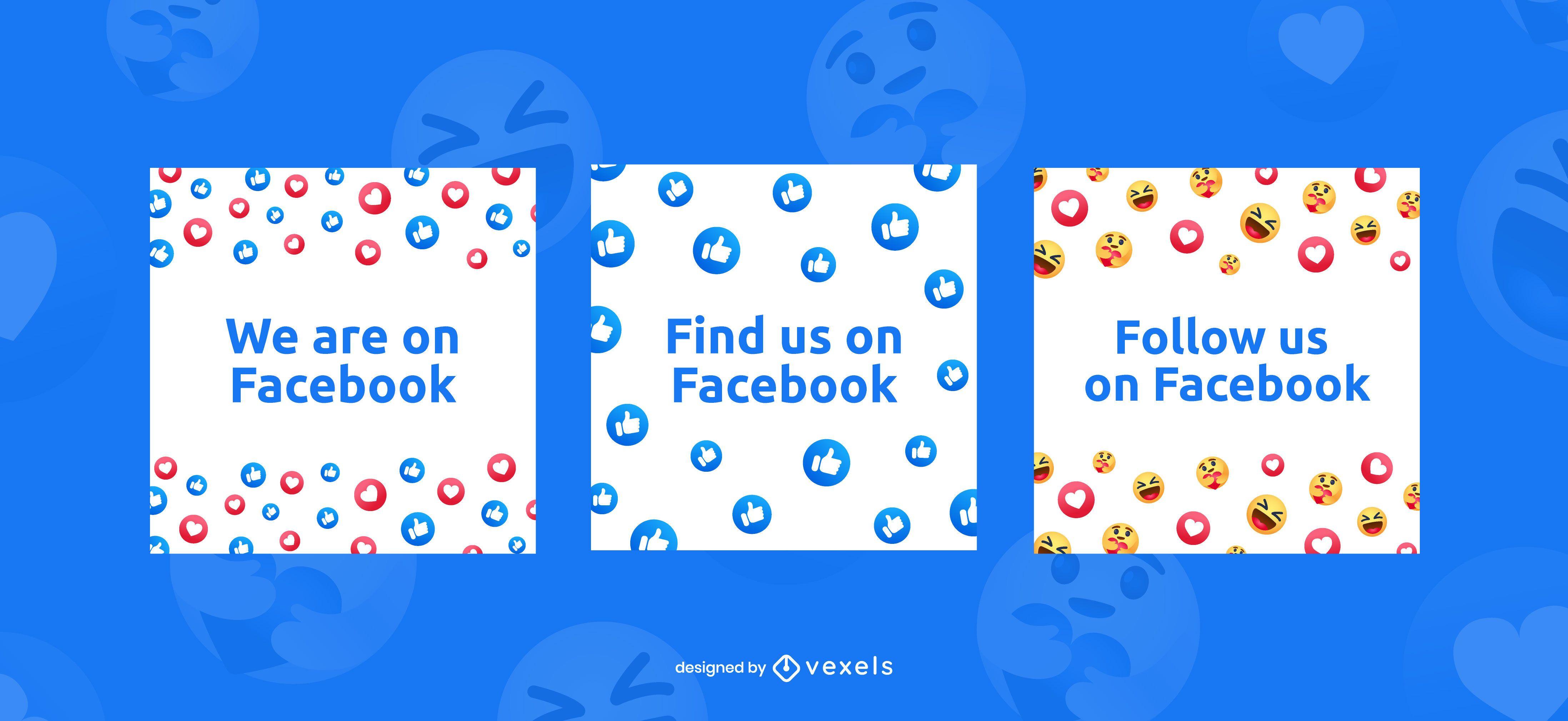 Find us on facebook banner set