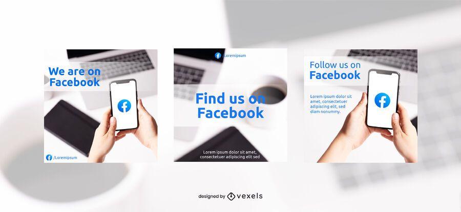Follow us on facebook banner set