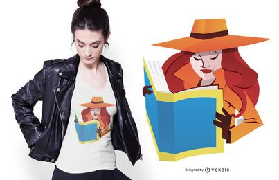 Design de camiseta feminina espiã lendo
