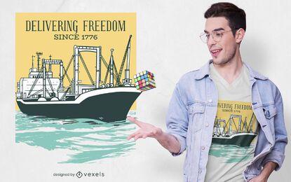 Design de camiseta para navio de carga