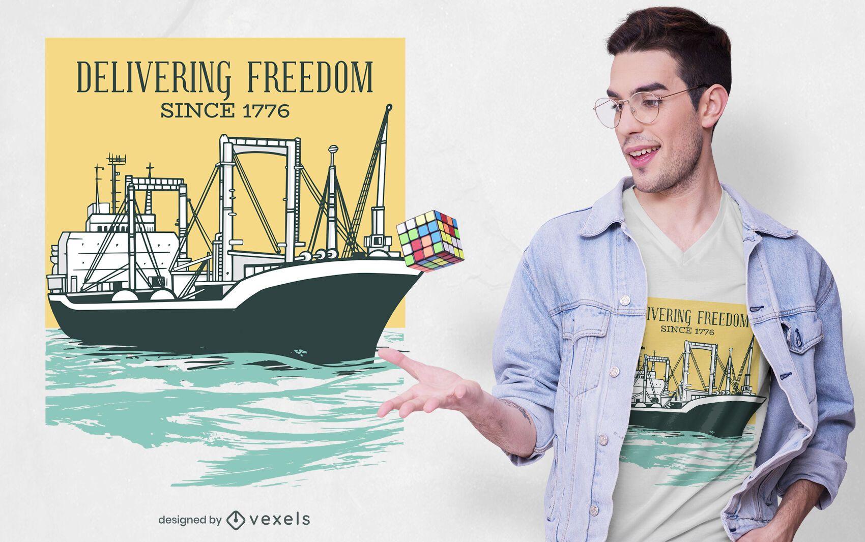 Cargo ship t-shirt design