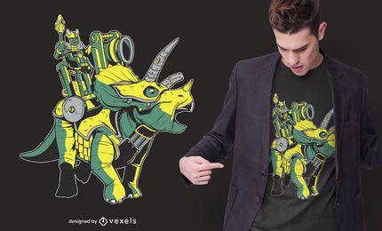 Diseño de camiseta de armadura de triceratops.