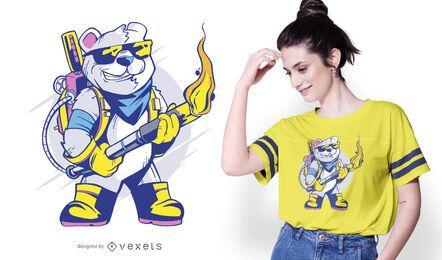 Diseño de camiseta oso lanzallamas
