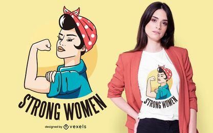 Diseño de camiseta de mujer fuerte.