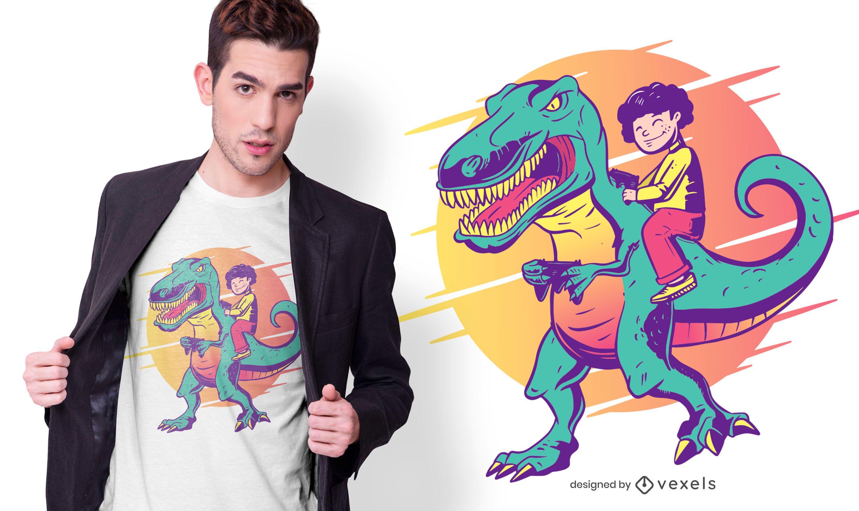 Diseño de camiseta de dinosaurio gamer y niño.