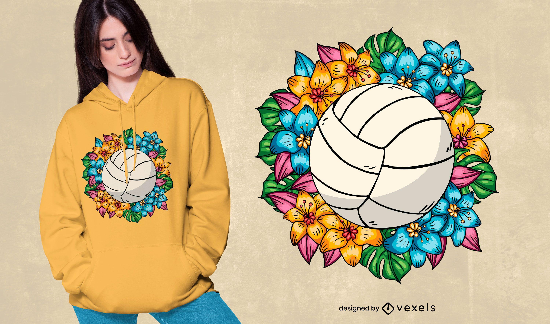 Diseño de camiseta de voleibol floral
