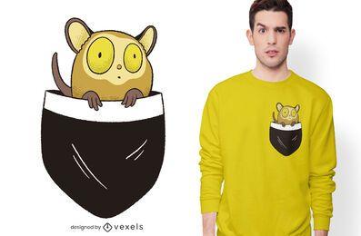 Diseño de camiseta con bolsillo Tarsier
