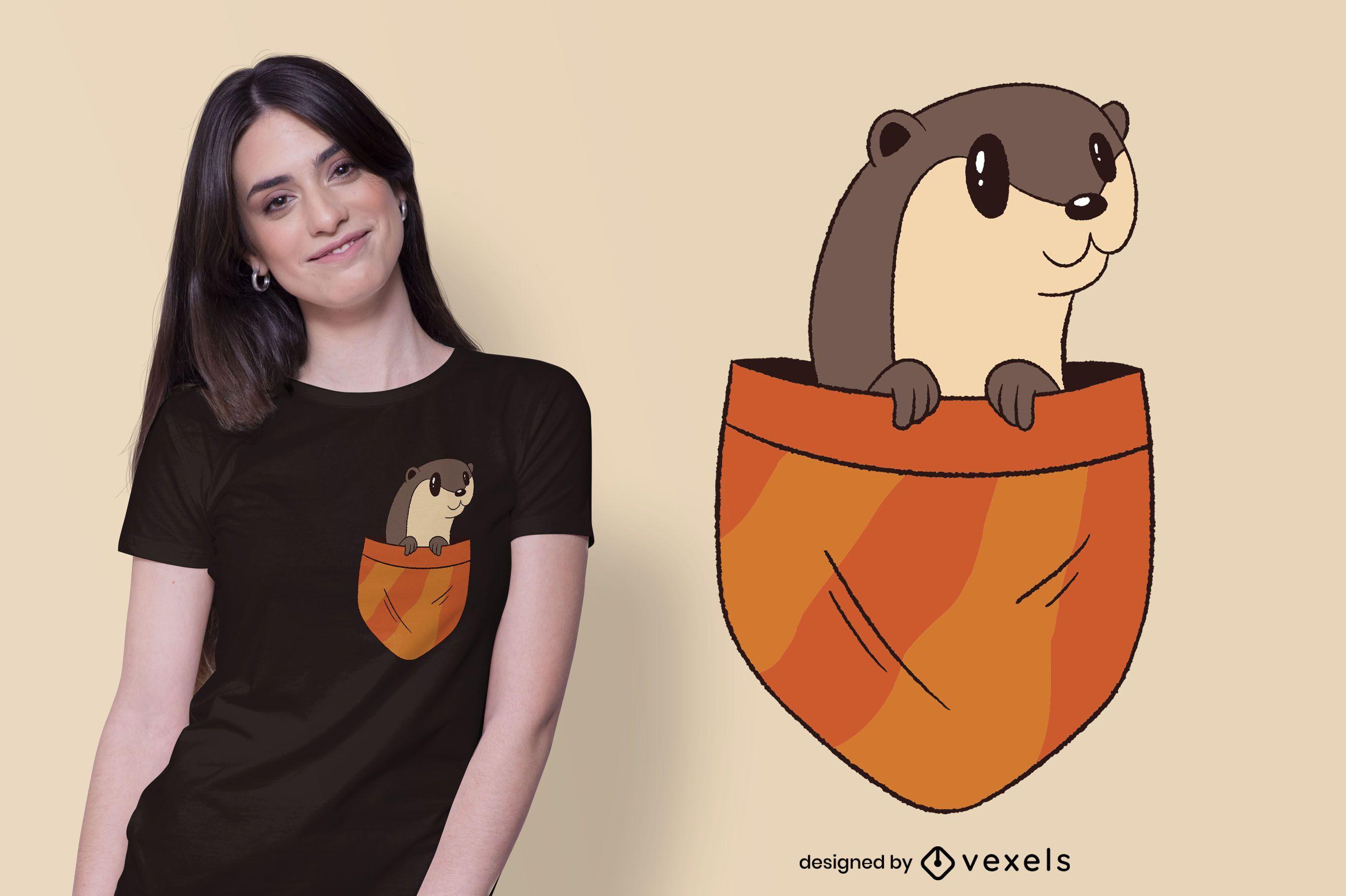 Diseño de camiseta con bolsillo de nutria