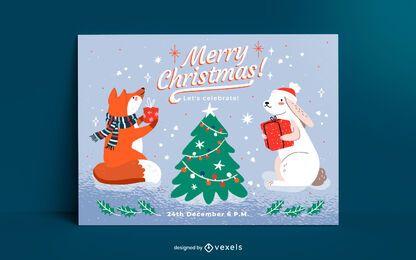 Design de modelo de cartão de Natal