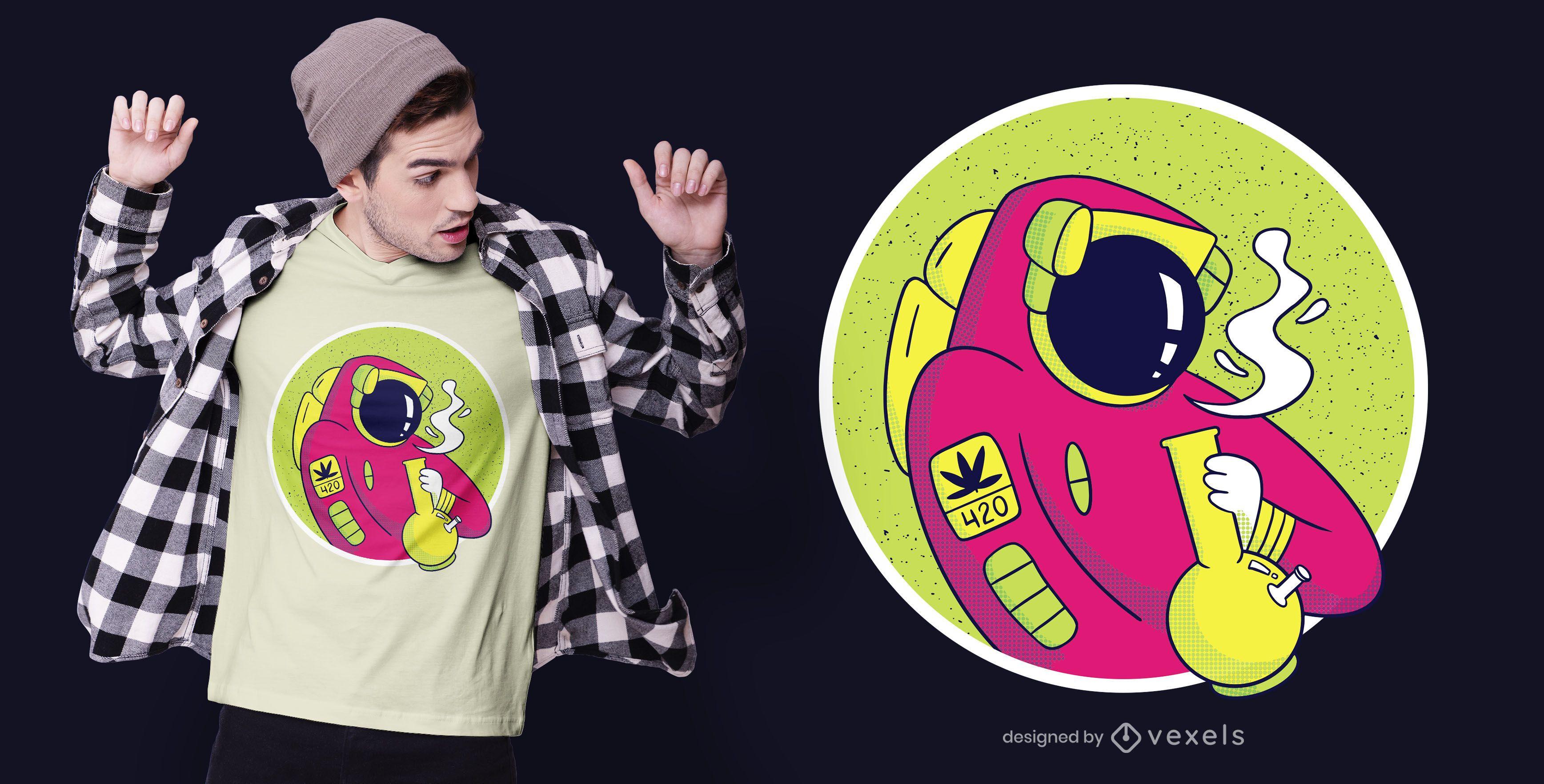 Astronaut bong t-shirt design