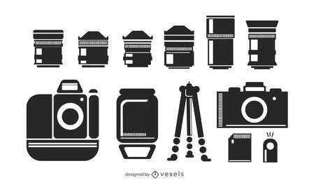 Pacote de silhueta de elementos de câmera