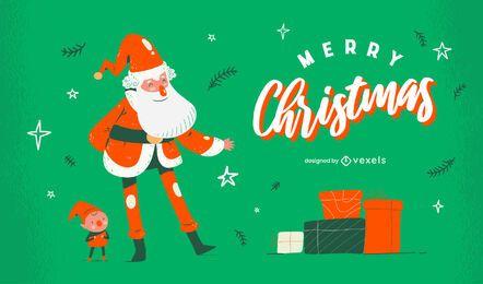 Diseño de dibujos animados de Santa Feliz Navidad