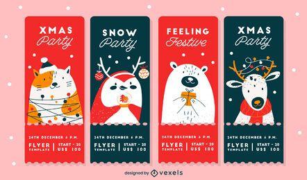 Pacote de Design de Cartões para Festa de Natal