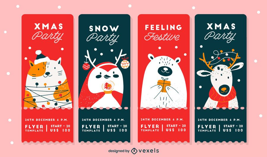 Paquete de diseño de tarjetas de fiesta de Navidad